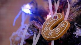 Ντεκόρ διακοπών Χριστουγέννων με το μπισκότο μελοψωμάτων απόθεμα βίντεο