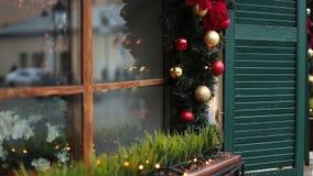 Ντεκόρ οδών Χριστουγέννων απόθεμα βίντεο