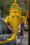 Ντεκόρ τοίχων Ganesha που γίνεται με το σχοινί Macrame στοκ εικόνες