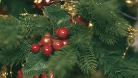 Ντεκόρ του νέου έτους στο δωμάτιο με ένα χριστουγεννιάτικο δέντρο, μια εστία και τα δώρα, υπάρχει θόρυβος στο βίντεο φιλμ μικρού μήκους