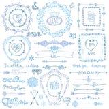 Ντεκόρ χειμερινού Doodle Πλαίσιο, κορδέλλα, σύνολο συνόρων Χέρι Στοκ Εικόνες