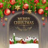 Ντεκόρ Χριστουγέννων με τα μπιχλιμπίδια και το χειμερινό χωριό απεικόνιση αποθεμάτων