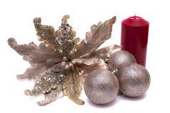 Ντεκόρ Χριστουγέννων στο άσπρο υπόβαθρο Στοκ Φωτογραφίες