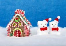 Ντεκόρ Χριστουγέννων στο μπλε φως στοκ φωτογραφίες