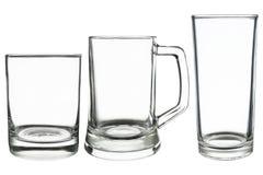 ντεμοντέ γυαλί, γυαλί μπύρας και highball γυαλί που απομονώνονται στο wh στοκ φωτογραφία
