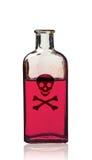 Ντεμοντέ μπουκάλι δηλητήριων με την ετικέτα, που απομονώνεται στοκ φωτογραφία