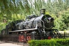 Ντεμοντέ τραίνο ατμού στο δημόσιο πάρκο ως μνημείο Στοκ εικόνες με δικαίωμα ελεύθερης χρήσης