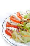 Ντομάτα και μοτσαρέλα με την πράσινη σαλάτα στοκ φωτογραφίες με δικαίωμα ελεύθερης χρήσης
