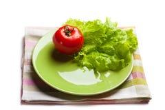 ντομάτα μαρουλιού πιάτων Στοκ φωτογραφίες με δικαίωμα ελεύθερης χρήσης