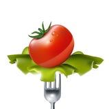 Ντομάτα με τη σαλάτα στο δίκρανο που απομονώνεται Στοκ φωτογραφίες με δικαίωμα ελεύθερης χρήσης