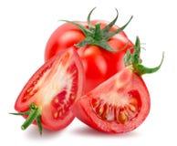Ντομάτα με τις φέτες που απομονώνονται στο άσπρο υπόβαθρο στοκ εικόνες με δικαίωμα ελεύθερης χρήσης
