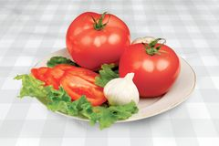 ντομάτα πιάτων Στοκ Φωτογραφία