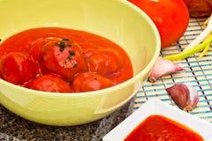 ντομάτα σάλτσας κεφτών Στοκ Εικόνες