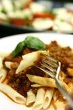 ντομάτα σάλτσας κρέατος penne Στοκ εικόνες με δικαίωμα ελεύθερης χρήσης
