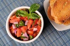 ντομάτα φρυγανιάς salsa στοκ φωτογραφία