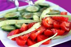 ντομάτες αγγουριών Στοκ Εικόνα