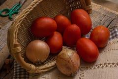 Ντομάτες και κρεμμύδια Στοκ εικόνες με δικαίωμα ελεύθερης χρήσης