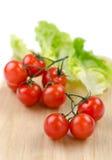 Ντομάτες και μαρούλι κερασιών στοκ φωτογραφίες