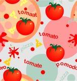 Ντομάτες και πίτσα απεικόνιση αποθεμάτων
