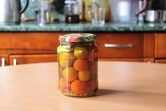 Ντομάτες και σκόρδο, που κονσερβοποιούνται Στοκ Εικόνα