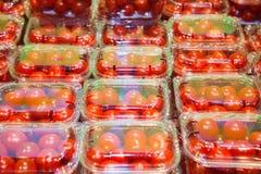 Ντομάτες κερασιών που συσκευάζονται στα πλαστικά εμπορευματοκιβώτια Στοκ Φωτογραφίες