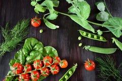 Ντομάτες κερασιών, πράσινα μπιζέλια και chard φύλλα στο σκοτεινό κλίμα Στοκ εικόνες με δικαίωμα ελεύθερης χρήσης