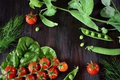Ντομάτες κερασιών, πράσινα μπιζέλια και chard φύλλα στο σκοτεινό κλίμα Στοκ Εικόνες