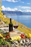 Ντομάτες κόκκινου κρασιού, τυριών, ψωμιού και κερασιών Στοκ Φωτογραφίες