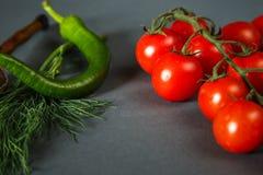 Ντομάτες με τα πράσινα pappers στοκ εικόνα με δικαίωμα ελεύθερης χρήσης
