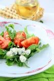 ντομάτες σαλάτας μπλε τυ Στοκ φωτογραφία με δικαίωμα ελεύθερης χρήσης