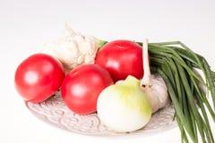 Ντομάτες, σκόρδο, κρεμμύδι και φρέσκο κρεμμύδι στο πιάτο που απομονώνεται Στοκ εικόνες με δικαίωμα ελεύθερης χρήσης