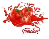 Ντομάτες στο κόκκινο χρώμα χυμού Στοκ Εικόνες