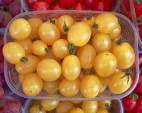 ντομάτες τροφίμων ανασκόπησης κίτρινες Στοκ φωτογραφίες με δικαίωμα ελεύθερης χρήσης