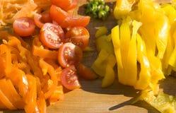 ντομάτες φετών πιπεριών στοκ φωτογραφίες
