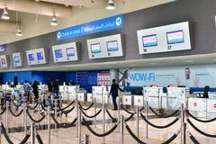 Ντουμπάι, Ε.Α.Ε. - 10 Απριλίου 2018 άποψη του μπροστινού γραφείου στον αερολιμένα Στοκ εικόνα με δικαίωμα ελεύθερης χρήσης