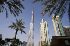 Ντουμπάι, Ε.Α.Ε. - 15 Ιανουαρίου 2016: Πύργος Khalifa Burj Ουρανοξύστης Khalifa Burj ενάντια στους φοίνικες στο κέντρο του Ντουμπ Στοκ φωτογραφία με δικαίωμα ελεύθερης χρήσης