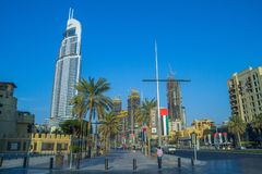 Ντουμπάι, Ηνωμένα Αραβικά Εμιράτα, 15 11 2015 ηλιόλουστη ημέρα στην αστική πόλη, Στοκ φωτογραφίες με δικαίωμα ελεύθερης χρήσης