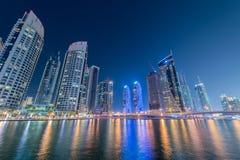 Ντουμπάι - 10 Ιανουαρίου 2015: Περιοχή μαρινών επάνω Στοκ Εικόνα