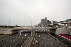 ΝΤΟΥΜΠΑΙ, Ε.Α.Ε. - 1 ΑΠΡΙΛΊΟΥ 2016: Το μετρό του Ντουμπάι ως κόσμος μακρύτερος πλήρως αυτοματοποίησε το δίκτυο μετρό (75 χλμ) 1 Α στοκ εικόνα