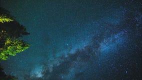 Ντους μετεωριτών Perseid, γαλακτώδης τρόπος στο νυχτερινό ουρανό, χρονικό σφάλμα των αστεριών απόθεμα βίντεο