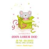 Ντους μωρών ή κάρτα άφιξης - κορίτσι ποντικιών μωρών Στοκ φωτογραφίες με δικαίωμα ελεύθερης χρήσης