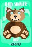Ντους μωρών - είναι αγόρι, καφετής τριχωτός αντέχει, πράσινος ελεύθερη απεικόνιση δικαιώματος