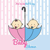 Ντους μωρών διδύμων ελεύθερη απεικόνιση δικαιώματος