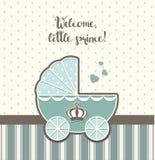 Ντους μωρών, μπλε εκλεκτής ποιότητας περιπατητής με τη βασιλική κορώνα, απεικόνιση Στοκ Εικόνα