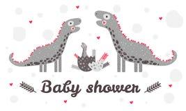 Ντους μωρών προτύπων Χαριτωμένος δεινόσαυρος βρεφικών σταθμών Μητέρα, πατέρας και παιδί Μπέρμιγχαμ Αυγό Κόκκινα, γκρίζα χρώματα Γ διανυσματική απεικόνιση