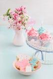 Ντους Bayb cupcakes και μπισκότα Στοκ Φωτογραφίες