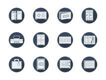 Ντουλάπια και χρηματοκιβώτια αποθήκευσης γύρω από τα επίπεδα εικονίδια Στοκ εικόνες με δικαίωμα ελεύθερης χρήσης