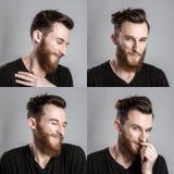 Ντροπαλός νεαρός άνδρας που απομονώνεται στο γκρίζο backround κολάζ Στοκ φωτογραφία με δικαίωμα ελεύθερης χρήσης