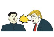 Ντόναλντ Τραμπ εναντίον των jong-Η.Ε της Kim Διανυσματική απεικόνιση κινούμενων σχεδίων πορτρέτου 13 Μαρτίου 2018 απεικόνιση αποθεμάτων