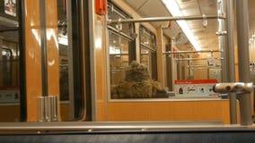 Νυρεμβέργη, Γερμανία - 3 Δεκεμβρίου 2018: Σχεδόν κενός τα τραίνα μετρό αυτοκινήτων υπογείων μέσα Επιγραφές στα γερμανικά απόθεμα βίντεο
